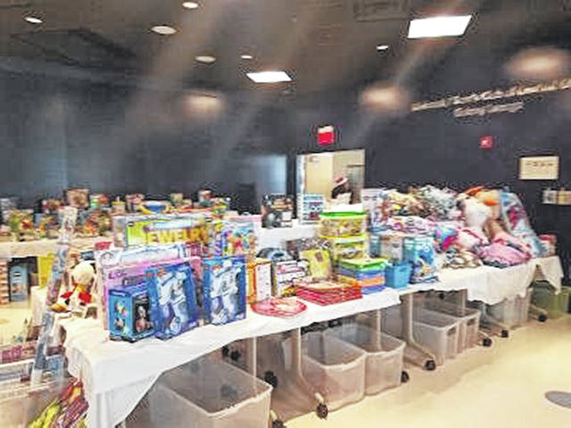 Tyler Slaven's toy drive efforts last year collected a record-breaking 20,283 toys. Shown are some of the toys in a holding area at the hospital.