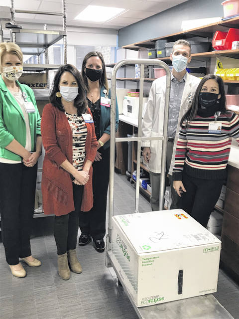 Mercy Health-St. Rita's Medical Center received a shipment of nearly 1,300 doses of the Moderna vaccine for COVID-19 on Monday.