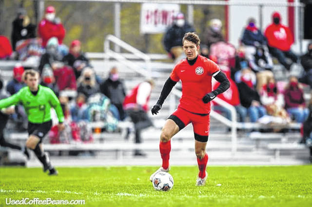 Jonathan Schriner, who plays striker for Bluffton, was one of 59 chosen out of a field of some 450,000 high school boys soccer players nationwide selected to the United Soccer Coaches All-American team. This pool is a combination of Division I, II and III teams.