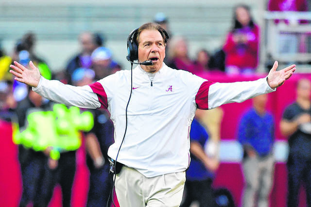 Alabama coach Nick Saban, shown here reacting to a call during a game against LSU in 2019, didn't want to be a coach until after his coach at Kent State told him he should consider it.