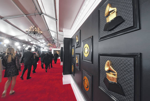 A view of the red carpet appears prior to the start of the 62nd annual Grammy Awards on Jan. 26, 2020, in Los Angeles. The Recording Academy told The Associated Press that the annual show would shift from its original Jan. 31 broadcast to March 14. The Grammys will be held in Los Angeles at the Staples Center.