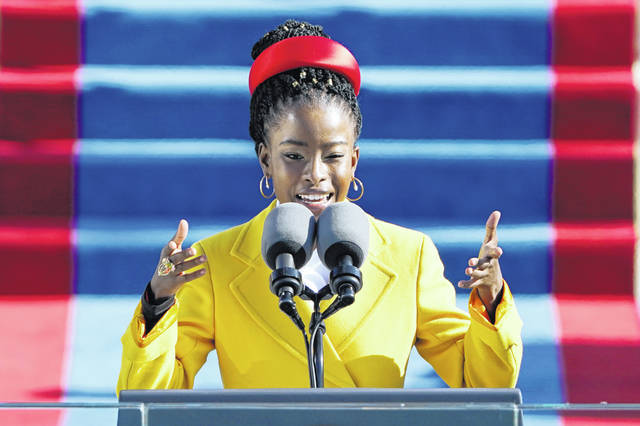 American poet Amanda Gorman reads a poem during the 59th Presidential Inauguration at the U.S. Capitol in Washington on Wednesday.