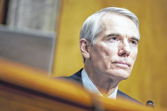 Sen. Rob Portman, R-Ohio, questions Homeland Security Secretary nominee Alejandro Mayorkas during his confirmation hearing in the Senate Homeland Security and Governmental Affairs Committee on Jan. 19. On Monday, Portman announced he wouldn't run for reelection in 2022.