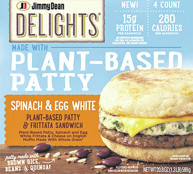 Tyson Foods' spinach frittata sandwich, which will launch in the spring, uses a patty made of soy protein, black beans, brown rice, quinoa and egg white.