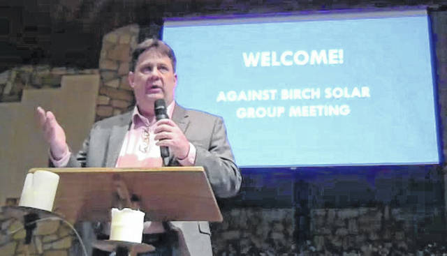 Jim Thompson, with Against Birch Solar LLC, organized a meeting Tuesday night to discuss the group's latest efforts to thwart a solar farm planned for the area.