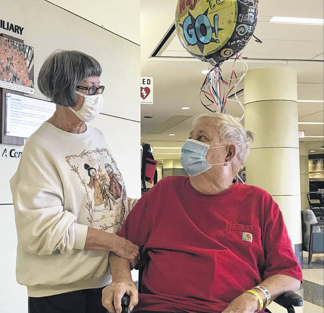 Charles Newland, 73, was reunited with wife of 48 years, Janet, on Friday after spending three months at Mercy Health-St. Rita's Medical Center with severe COVID-19.