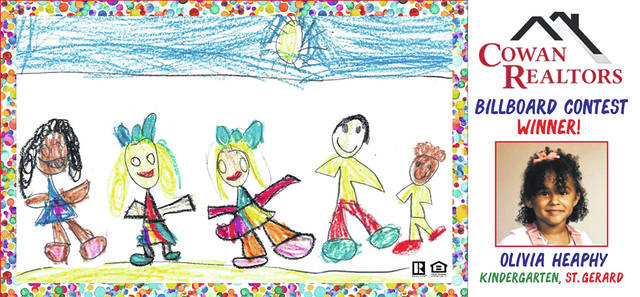 Olivia Heaphy, a kindergartener at St. Gerard, designed this billboard in a contest.