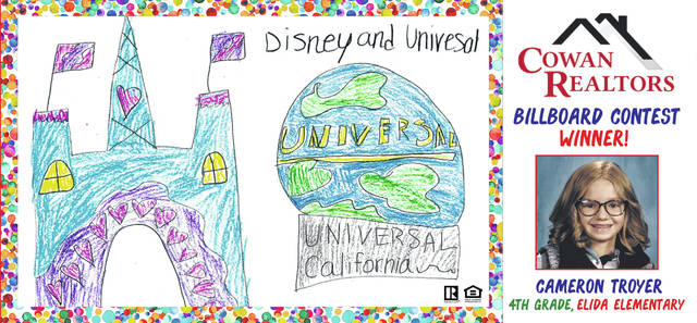 Cameron Troyer, a fourth-grader at Elida Elementary, designed this billboard in a contest.