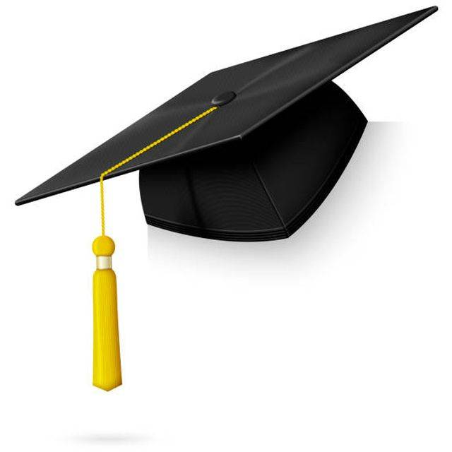 Vector realistic graduation cap hang on the corner of paper, wall, frame, board etc. Isolated on white background.