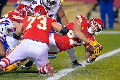 Kansas City Chiefs tight end Travis Kelce (87) scores on a 1-yard touchdown reception during the Chiefs'38-24 win over the Buffalo Bills in the AFC championship game Sunday night in Kansas City, Mo.