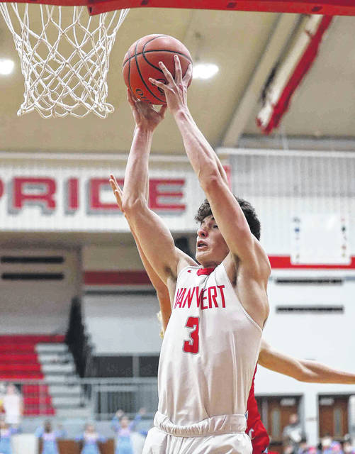 Van Wert's Ethan Brown pulls down a rebound during Saturday's home game against Lima Central Catholic.