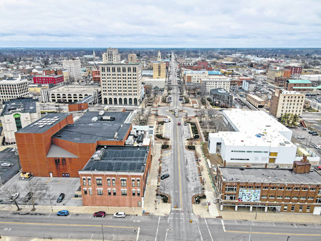Aerial view of Lima, looking north from Spring Street. Richard Parrish | The Lima News