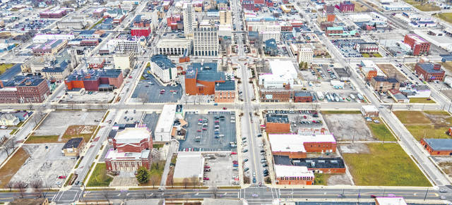 An aerial view of downtown Lima shows projects underway but also the continuing need for investment there. This view faces north from Elm Street, from West Street on the left side of image to Central Avenue on the right side.