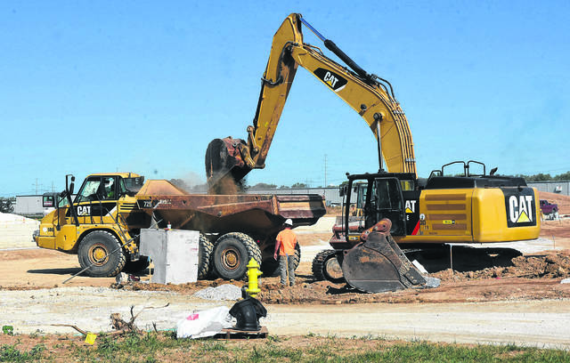 Machinery moves dirt in September as a plastics company was under construction on Commerce Parkway in Lima.