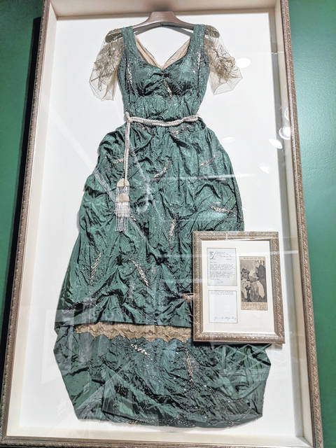 A gown worn by former first lady Florence Harding is on display at the Grand Hotel on Mackinac Island, Michigan.