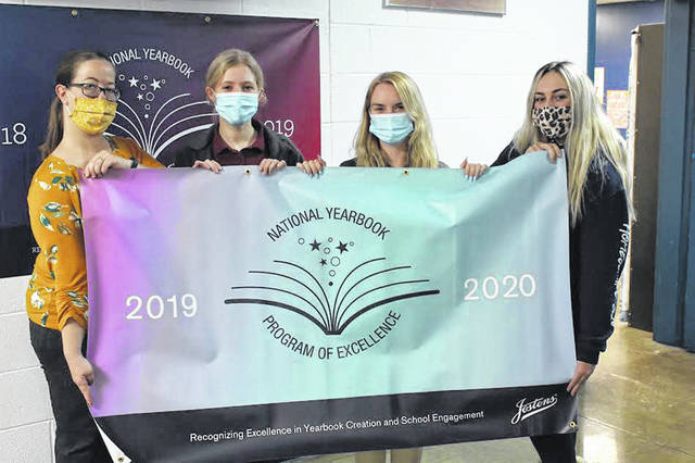 The Temple Christian School Yearbook won a Jostens award for the third-straight year. Pictured are, from left, adviser Susan Searcy, Elaina Helser, Jordyn Hayes and Emma White.