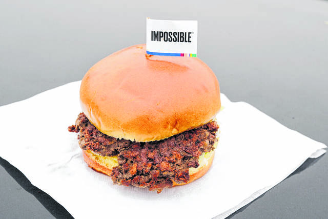 The Impossible Burger, a plant-based burger containing wheat protein, coconut oil and potato protein among it's ingredients, is seen Friday, Jan. 11, 2019.