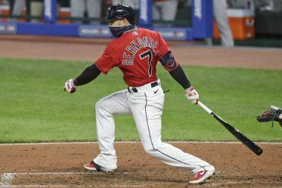 The Cleveland Indians' Cesar Hernandez batted .283 in 58 games and led the AL with 20 doubles in the pandemic-shortened 2020 season. (AP photo)