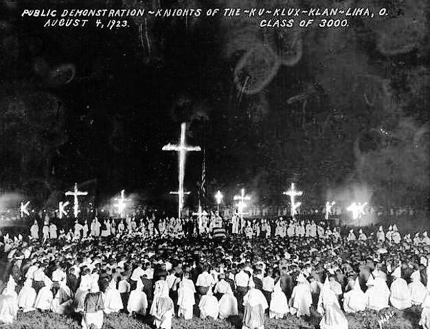 This photo, dated Aug. 4, 1923, shows a Ku Klux Klan demonstration in Lima.