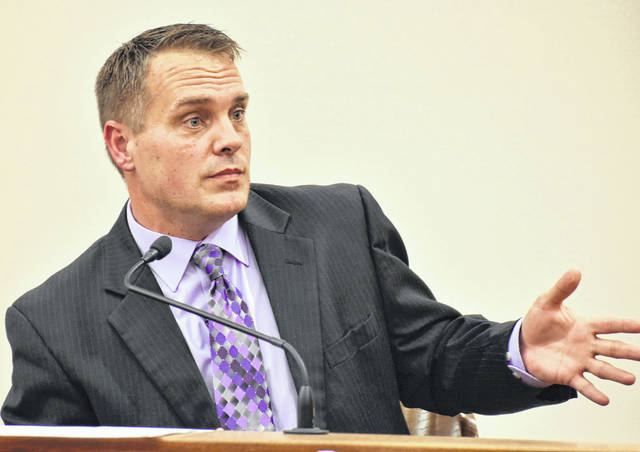 Lima Police Department Detective Steve Stechschulte, pictured on the witness stand during a recent trial, was the recipient Wednesday of the Ohio Prosecuting Attorneys Association's Outstanding Peace Officer award for 2020.