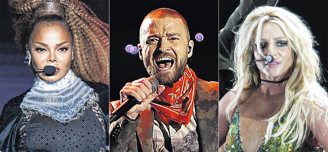 This combination photo shows, from left, Janet Jackson performing at the Essence Festival in New Orleans on July 8, 2018, from left, Justin Timberlake performing during halftime of the NFL Super Bowl 52 football game in Minneapolis on Feb. 4, 2018 and Britney Spears performing during her concert in Taipei, Taiwan on June 13, 2017.
