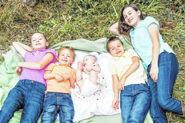 The children in the Boyer family include, from left, Alyiah, Ezra, Eden, Asher and Alana.