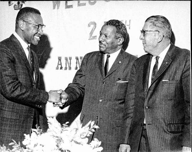 Walter Potts and other dignitaries, photographed in 1963 at the Bradfield Center's 25th anniversary.
