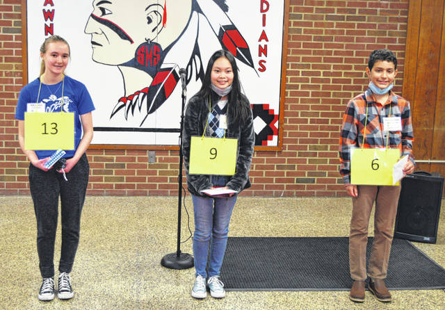 The top three finishers in this year's Allen County Spelling Bee were first place, Melody Gallaspie from Elida Middle School, second place, Vy Dang from Perry Junior High School, and third place, Nathaniel Bontrager from Spencerville Middle School.