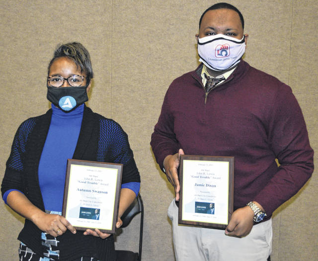 """Winners of """"Good Trouble"""" awards were Autumn Swanson and Jamie Dixon. The awards were handed out at an event at the Veterans Memorial Civic Center on Saturday, honoring the late Congressman John Lewis."""