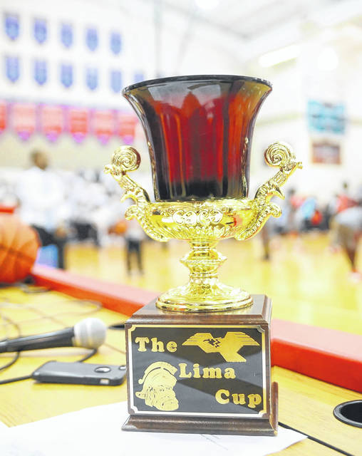 The Lima Cup during Tuesday's game at Msgr. Edward C. Herr Gymnasium. RICHARD PARRISH / The Lima News
