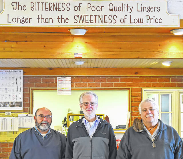 From left, longtime Lima Lumber employee Dave Lamb and owners Kevin Gratz and Mike Steiner could write a textbook on the importance of customer service. For years that's been the hallmark of the business, which goes under new ownership next week. The trio, which has more than 100 years of retail experience between them, will retire Friday.