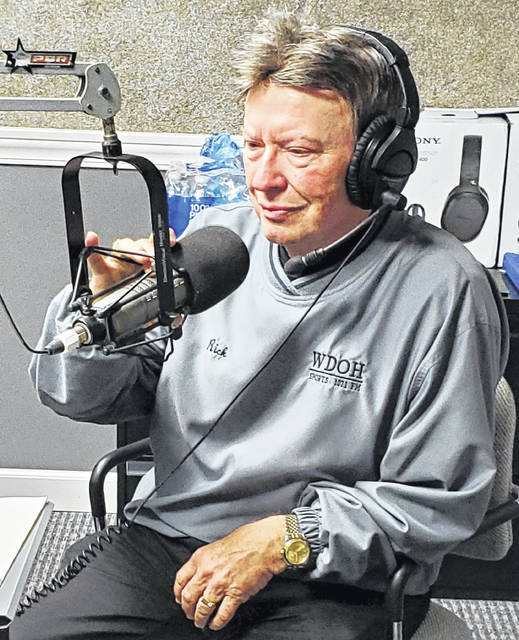 "Rick Miller shares memories of giving play-by-play on WDOH-FM 107.1 radio on Friday morning. The City of Delphos declared Friday ""Rick Miller Day"" in honor of his retirement after 42 years of announcing high school sports."