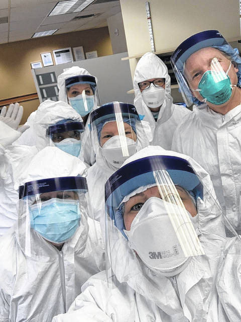 The true heroes of the pandemic are the many healthcare workers that put their own health aside to help others. Pictured are members of Mercy Health-St. Rita's Medical Center.