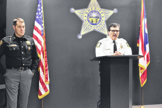 Lima Police Chief Kevin Martin, right, and Allen County Sheriff Matt Treglia on Thursday announced plans to join forces in the implementation of a join Special Weapons and Tactics (SWAT) team. The move is contingent upon approval by Lima City Council.