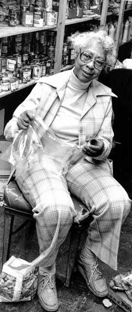 Willa Mae O'Neal, photographed in 1991 at a food pantry. She devoted much of her life to serving the Lima community in a variety of roles despite having epilepsy.