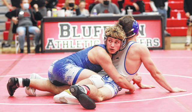 Allen East's Trenton Gatchell, left, competes against Lincolnview's Asher Hubble during Friday's Northwest Conference Tournament at Bluffton. See more tourney photos at LimaScores.com.