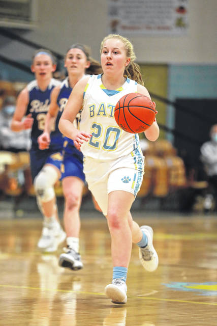 Bath's Rachel Clark gets ahead of St. Marys defenders during Thursday night's game at Bath.