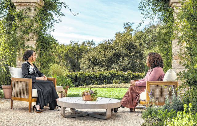 Meghan, the Duchess of Sussex, left, speaks with Oprah Winfrey for an interview that will air Sunday night on CBS.
