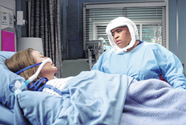 "Chandra Wilson, right, appears with Ellen Pompeo in a scene from ""Grey's Anatomy."" Season 17 airs Thursdays on ABC."