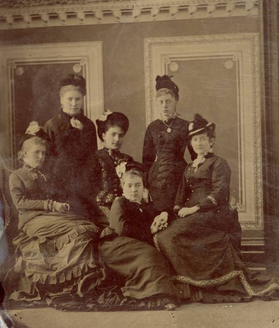 Luah Miller Butler, seated on the right, appears in a photograph with, from left, Nettie Boone McCullough, Ida Rumble Townsend, Jessie Hughes Aves, Ella Gorton Mackenzie and Anna Ashton Hughes.