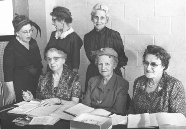 """This photo from 1960 of the Shakespeare Study Club shows, from left, Mrs. D. Dale Douthett, Mrs. Myrtle Weber, Mrs. J.D. Falls, Mrs E.S. Stansel, with Mrs. O.B. May & Mrs. Charles Hurley standing. According to the club's constitution, its aim was """"to stimulate intellectual and moral development and to promote good fellowship among its members."""""""