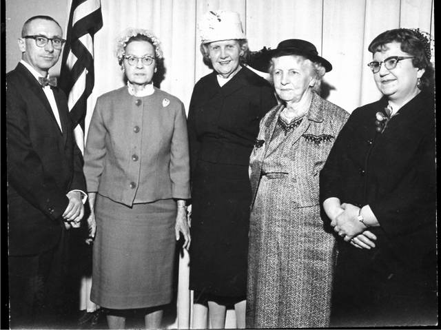 Professor Eugene Belch, left was speaker at Shakespeare Study Club's guest luncheon in this photograph from April 12, 1963. With him are, from left, president Mrs. Paul Smith, Mrs. Carl Emrick, Mrs. J.D. Falls and Mrs. Henry Van Gunten.