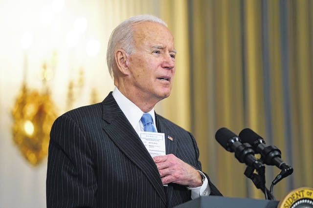 President Joe Biden speaks about efforts to combat COVID-19, in the State Dining Room of the White House, Tuesday, March 2, 2021, in Washington.