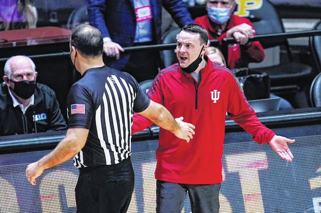 Indiana head coach Archie Miller complains to official Bo Boroski after receiving a technical foul during the second half of an NCAA college basketball game against Purdue earlier this month.