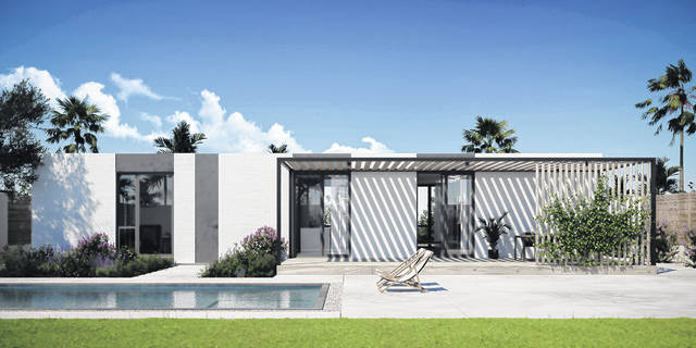 A rendering shows a planned 3D-printed home in Rancho Mirage, Calif.
