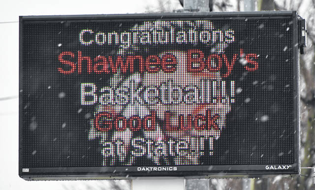 The Pony Keg shows its support for the Shawnee boys basketball team. Shawnee plays this Saturday in the Division II State semi final game in Dayton.