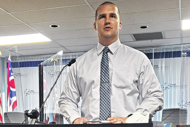 Lima Police Department Detective Jesse Harrod speaks about CellHawk's benefits for investigators during Lima Mayor David Berger's weekly press conference Wednesday.