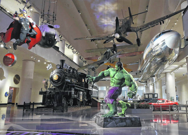 The Incredible Hulk and Thor can be seen at Grainger Court inside the Museum of Science and Industry in Chicago.