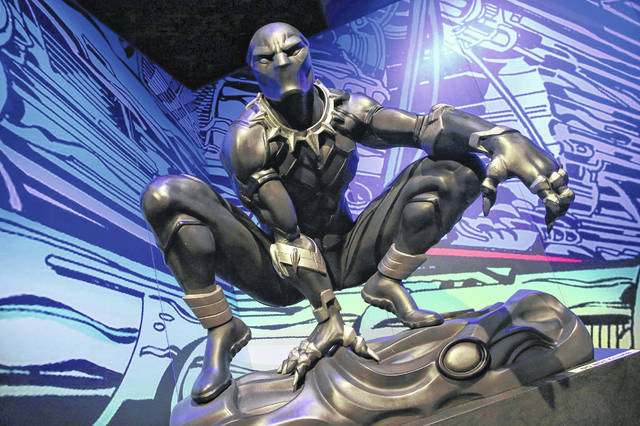 "Black Panther is featured at the ""Marvel: Universe of Super Heroes"" exhibit at the Museum of Science and Industry."