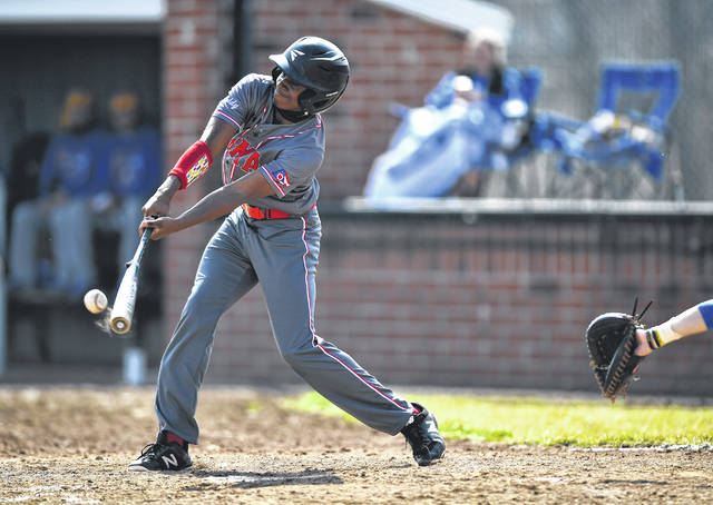 Lima Senior's D'Ontre Cowan hits a single during Saturday's game against Lincolnview at Lima Senior.
